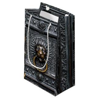 Petit Sac Cadeau Lion de heurtoir - noir/or