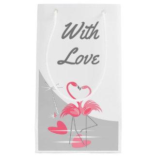 Petit Sac Cadeau Lune d'amour de flamant grande avec amour petit