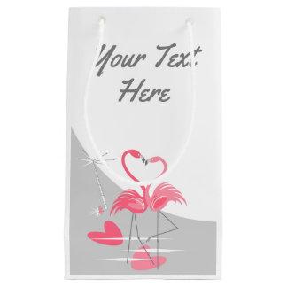 Petit Sac Cadeau Lune d'amour de flamant grande votre texte petit
