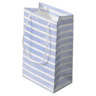 Petit Sac Cadeau Mariage moderne d'aquarelle de rayure de bleu