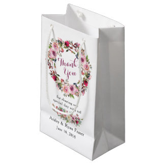 Petit Sac Cadeau Merci floral de mariage de rose chic rose pourpre