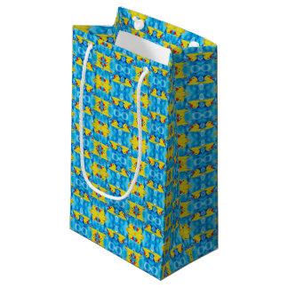 Petit Sac Cadeau Mignon en caoutchouc jaune dans les bulles
