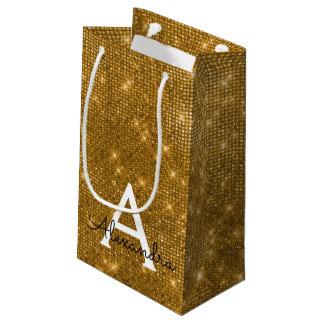 Petit Sac Cadeau Monogramme d'or et d'étincelle de noir - ajoutez