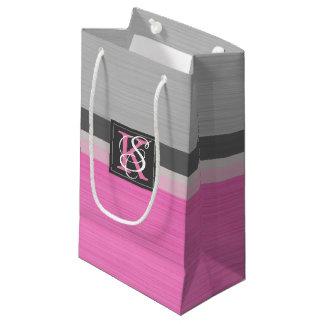 Petit Sac Cadeau Monogramme rose et gris du ton deux simple