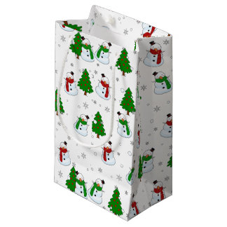 Petit Sac Cadeau Motif de bonhomme de neige