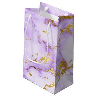 Petit Sac Cadeau Motif de marbre métallique de lavande de Faux