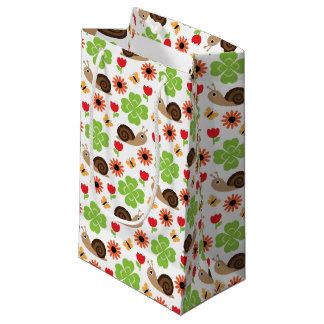 Petit Sac Cadeau Motif sans couture d'escargot et de trèfle