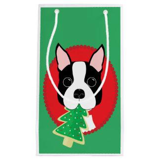 Petit Sac Cadeau Noël lunatique de Boston Terrier