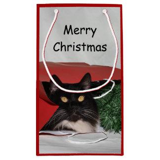 Petit Sac Cadeau Noël noir et blanc de chat