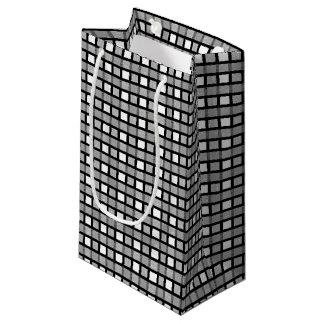 Petit Sac Cadeau Noir, blanc et armure statique argentée