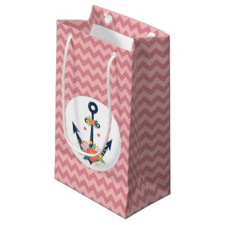 Petit Sac Cadeau Partie de douche florale de bébé d'ancre nautique