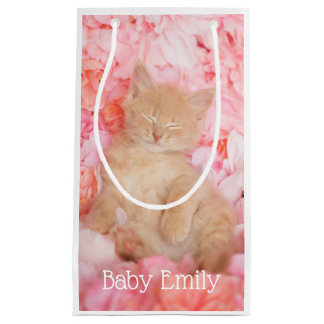 Petit Sac Cadeau Petit chaton floral rose de sommeil de Linus