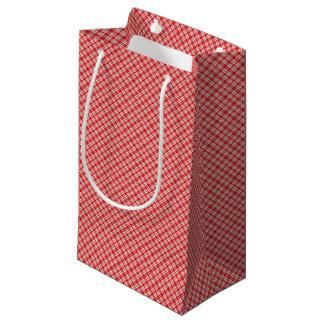Petit Sac Cadeau Plaid rouge et blanc de vacances