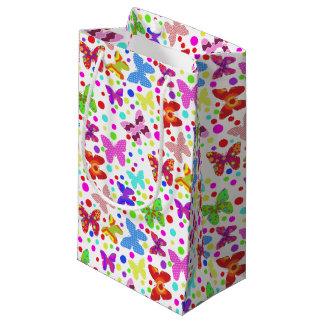 Petit Sac Cadeau Pois coloré et papillons mignons pour la fille