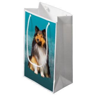 Petit Sac Cadeau Portrait d'art de chien de berger de Sheltie