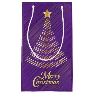 Petit Sac Cadeau Pourpre de fête de Joyeux Noël et arbre d'or