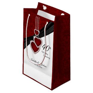 Petit Sac Cadeau quarantième Anniversaire de mariage rouge - petit