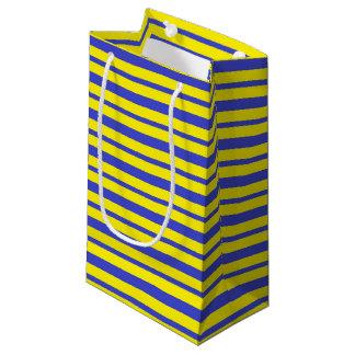 Petit Sac Cadeau Rayures bleues et jaunes épaisses et minces