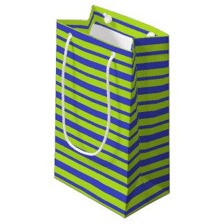 Petit Sac Cadeau Rayures épaisses et minces de bleu et de vert de