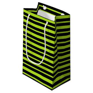 Petit Sac Cadeau Rayures épaisses et minces de vert et de noir de