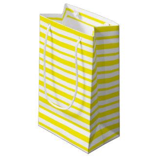 Petit Sac Cadeau Rayures jaunes et blanches épaisses et minces