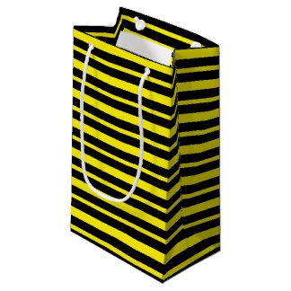 Petit Sac Cadeau Rayures jaunes et noires épaisses et minces