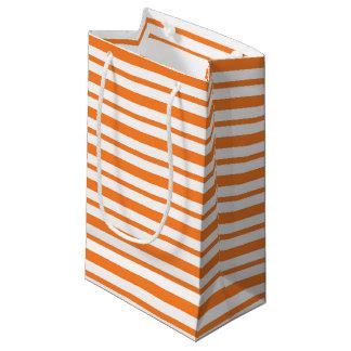 Petit Sac Cadeau Rayures oranges et blanches épaisses et minces
