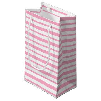 Petit Sac Cadeau Rayures roses et blanches épaisses et minces