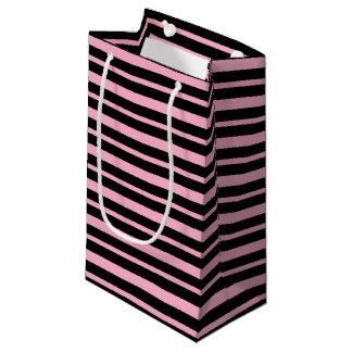 Petit Sac Cadeau Rayures roses et noires épaisses et minces