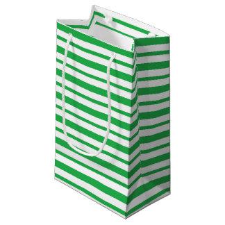Petit Sac Cadeau Rayures vertes et blanches épaisses et minces