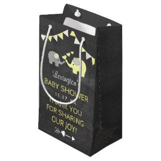 Petit Sac Cadeau Tableau jaune de Merci de baby shower d'éléphant