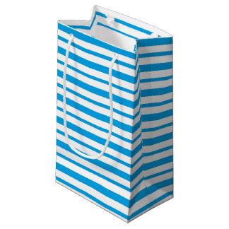 Petit Sac Cadeau Turquoise épaisse et mince et rayures blanches