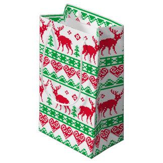 Petit Sac Cadeau Vert rouge de renne de mauvais goût nordique de
