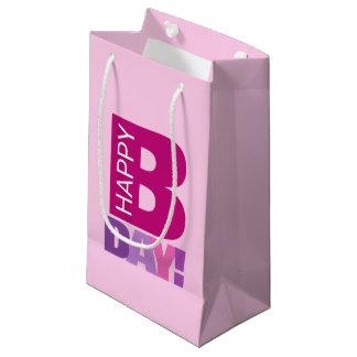 Petit sac de cadeau d'anniversaire heureux rose