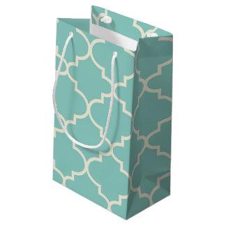 Petit sac de cadeau de motif marocain bleu de