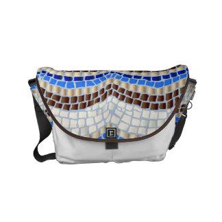 Petit sac messenger à mosaïque bleue sacoches