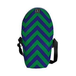 Petit sac messenger à zigzag de vert bleu besaces