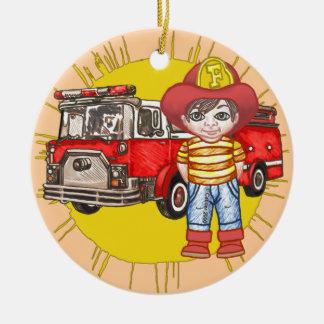Petit sapeur-pompier ornement rond en céramique