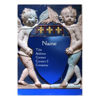 PETIT saphir de bleu de MONOGRAMME d'ANGES de la Carte De Visite Grand Format