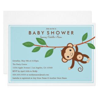 Petit singe - invitation bleu de baby shower de |