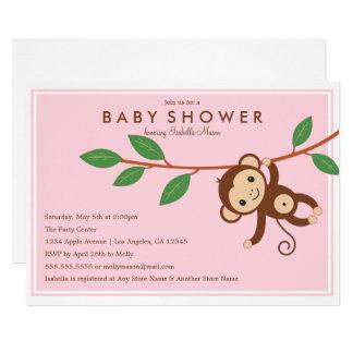 Petit singe - invitation de baby shower du rose |
