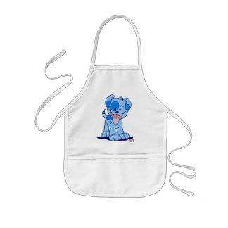 Petit tablier bleu de cuisine de chiot