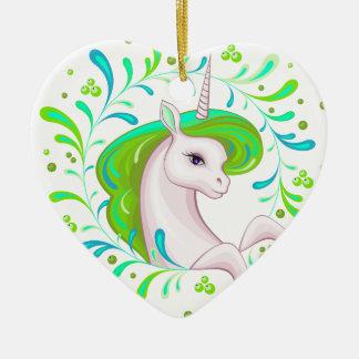 Petite belle licorne ornement cœur en céramique