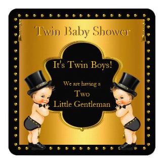 Petite brune de monsieur de garçons jumeaux de carton d'invitation  13,33 cm