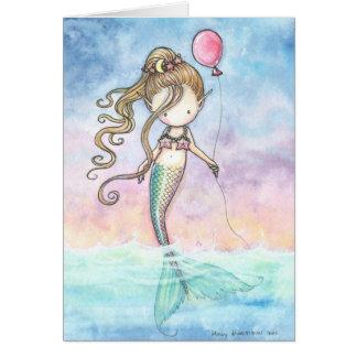 Petite carte d'anniversaire mignonne de sirène