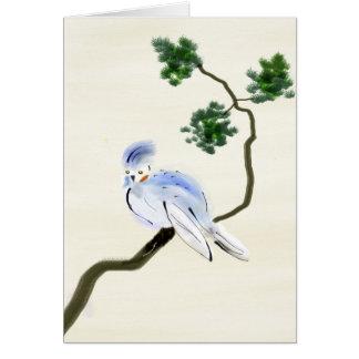 Petite carte de voeux de Sumi-e d'oiseau