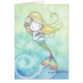 Petite carte mignonne de sirène par l'aquarium