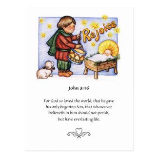 Petite carte postale de garçon de batteur de Noël