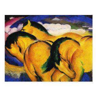 Petite carte postale jaune de chevaux de Franz