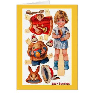 Petite carte vintage d'étamine de bébé de
